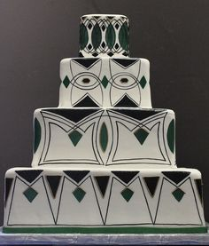 Green, while and black 'Art Deco Wedding Cake by Alliance Bakery, via Flickr'; 1920's - 1930's inspired decor, decorations