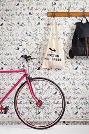 Bikes of Hackney (Bikes of Hackney) - Ella Doran Wallpapers - A bold and quirky design featuring a variety of bikes from different time periods as a random motif. Please request a sample for true colour match. Pattern repeat Paste the wall product. Quirky Wallpaper, Hallway Wallpaper, Print Wallpaper, Cloakroom Wallpaper, Wallpaper Ideas, Inspirational Wallpapers, Cute Wallpapers, Bicycle Wallpaper, Old Paper