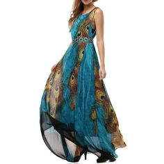 Wantdo Women's Peacock Printed Bohemian Summer Maxi Dress Plus size ($30) ❤ liked on Polyvore featuring dresses, boho dresses, blue dress, bohemian maxi dress, peacock blue dress and plus size bohemian dresses