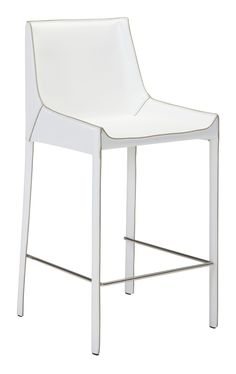 Fashion Bar Chair in White Recycled Leather with Exposed Seam (Set of 2)