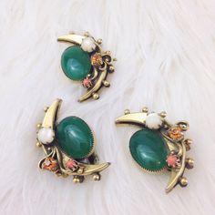 1960er Jahren Halbmond Ohrring und Brosche Set von CKvintagejewelry