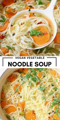 Vegetarian Soup, Vegan Soups, Vegetarian Recipes, Healthy Recipes, Vegan Food, Healthy Food, Vegetable Noodle Soup, Vegan Noodle Soup, Vegan Vegetable Soup