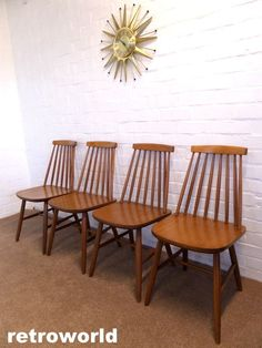 Set Of X4 Mid Century Vintage Retro Dining Chairs Available From Retroworld Www Retroworldonline