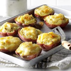 Twice-Baked Red Potatoes Recipe -Before my baby was born, I was in nesting mode and made lots of freezable recipes like these creamy red potatoes. The yogurt is a healthy swap for sour cream. —Valerie Cox, Secretary, Maryland