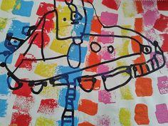 El fondo lo sellamos con esponja y temperas de colores una vez seco dibujamos con marcador indeleble negro.- Edad: 4 años