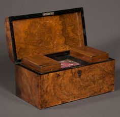 """Sheraton burl walnut tea caddy, interior fitted with two wooden canisters and a glass mixing bowl, c.1860, 12"""" wide, 6"""" deep, 7"""" high"""