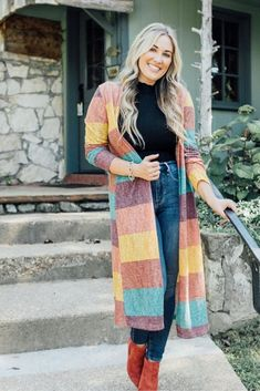 Shop Jess Lea Boutique Jack Striped Long Cardigan #jesslea #jessleaboutique #jessleastyle #casualstyle #momstyle #casualoutfit #easyoutfit #ootd #boutique #boutiquestyle #fallstyle #fallinspo #stripedcardigan