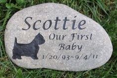 PERSONALIZED Stone Pet Memorial West Highland Terrier 10-11 Inch Pet Memorial Stone Headstone Tombstone Gravestone & Other Dog Breeds #custom_personalized #dog_memorial_stone #dog_memorials