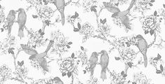 """Songbird Dove (1616/903) - Prestigious Wallpapers - Shown here in soft grey and off white. Please request a sample for a true colour match. Paste-the-wall product. $81 (1 ft. 8.5"""" wide by 32 ft. 9"""" wide) For the hall bath."""