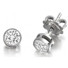 Cercei Tip Stud Aur Alb cu Diamant Rotund Briliant in Setare Rub-Over Aur, Cufflinks, Accessories, Wedding Cufflinks, Jewelry Accessories