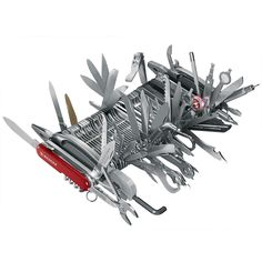 """The Only Complete Swiss Army Knife - Hammacher Schlemmer - Holder of the Guinness World Record for """"The Most Multifunctional Penknife,"""" with 87 precision-engineered tools spanning 112 functions."""