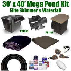 """30 x 40 Mega Koi Pond Kit 8,000 GPH Pump Pondbuilder Elite Skimmer & Elite Waterfall MP7 by Patriot. $2512.50. Ships Truck Freight - Additional Carrier Charges May Apply. 3"""" x 50' FreezeFlex PVC Hose, 3"""" Check Valve, (3) 20 Watt Rock Light with 60 Watt Transformer, All Installation Hardware & Directions. Liftgate Service is Not Included. Contact Carrier For Liftgate Service Which Is An Additional $85.00. 30 x 40 EPDM LifeGuard Liner (lifetime warranty) and 1,200 Sq..."""