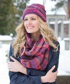 Corrugated Hat and Cowl - free crochet pattern from Red Heart