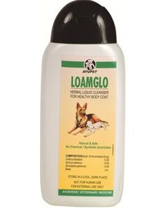 AYURVET Loamglo Shampoo For Dog – 180 ml The Loamglo Shampoo from Ayurvet is made with completely natural and safe ayurvedic ingredients. This is 100% safe and does not have any adverse reactions on your pet. The shampoo has been formulated to maintain the ph balance of the pets coat effectively.