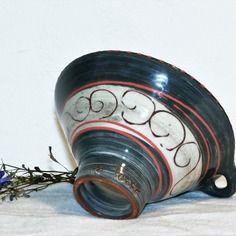 Entonnoir à confiture noir décor spirales en céramique