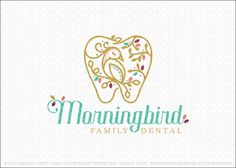 Logo for sale by Melanie D: Modern and elegant dental themed logo design featuring a simple tooth shape designed to flow and create tree branches with growing leaves. A beautiful resting morning bird is designed within the tooth design, perched on on a tree branch.