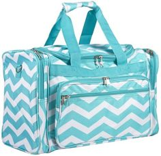 7c04bb96f8 World Traveler Teal Blue Aqua Zig Zag Chevron Print Duffle Bag 19-Inch