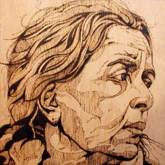 Pyrography by Oliver Winconek Urban Art and Street Art Forum with Print Release Gallery news and Art For Sale. Pyrography Art, Banksy, Portraiture, Urban Art, Drawings, Art For Sale, Cool Art, Pyrography Designs, Design Inspiration