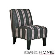 @Overstock - The angelo:HOME Dover armless accent chair was designed by Angelo Surmelis. The Dover armless chair works well in dining rooms, bedrooms and living rooms and is covered in a deep violet stripe on a gray brown background.http://www.overstock.com/Home-Garden/angelo-HOME-Dover-Founding-Stripe-Grey-and-Plum-Armless-Chair/6549081/product.html?CID=214117 CAD              303.96