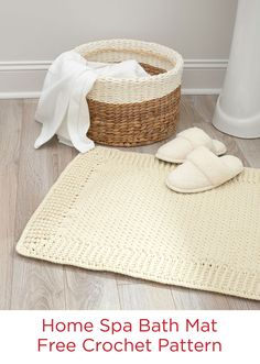 Home Spa Bath Mat Free Crochet Pattern in Red Heart Yarns -- This cushy, tubular yarn is comfortable for bare feet and perfect for your bathroom retreat. Crochet it in your choice of two sizes, for either single or double vanity.