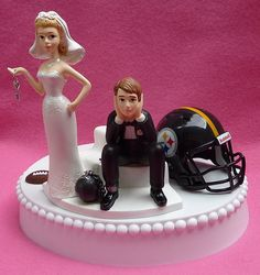 Wedding Cake Topper Pittsburgh Steelers Football Themed by WedSet, $59.99