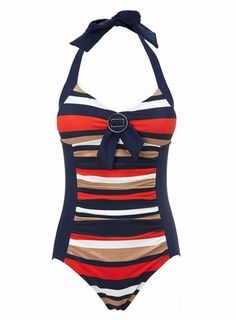 Stone Striped Panel Tummy Control Swimsuit - swimsuits - holiday shop  - Women