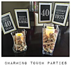 40th birthday party decor. Black and gold centerpiece by Charming Touch Parties. Fully assembled and customizable.