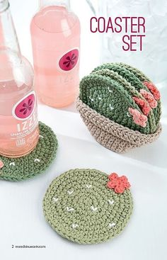 Crochet Coaster Set Pattern Cacti Pattern
