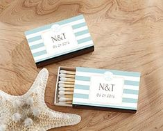 Personalized White Matchboxes - Beach (Set of When your perfect match is a fun matchbox favor to take your bridal shower, wedding or other specia Beach Wedding Decorations, Beach Wedding Favors, Unique Wedding Favors, Bridal Shower Favors, Unique Weddings, Beach Weddings, Wedding Ideas, Wedding Boxes, Party Favors