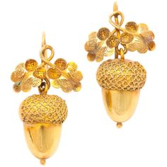 Victorian Mighty Petite Golden Acorn Earrings | From a unique collection of vintage dangle earrings at http://www.1stdibs.com/earrings/dangle-earrings/