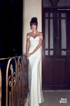 Julie Vino sheath simple wedding gown