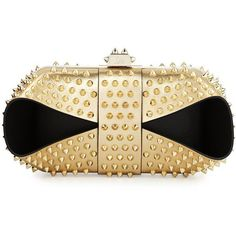 Christian Louboutin Grandotto Spike Clutch Bag ($1,860) ❤ liked on Polyvore featuring bags, handbags, clutches, real leather handbags, leather clutches, beige leather purse, clasp purse and beige purse