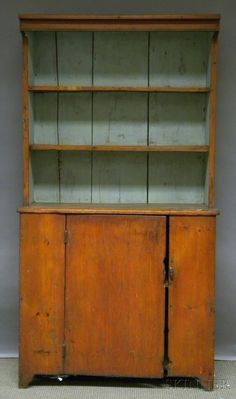 829: Country Pine Step-back Cupboard, ht. 71, wd. 38 1/ : Lot 829