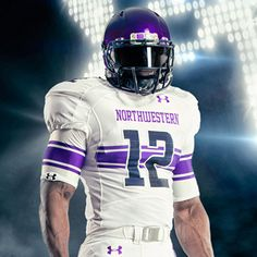 Northwestern University Wildcats Football Uniform 2012 (away) by Under Armour Football Uniforms, Sports Uniforms, Football Jerseys, College Football, Football Helmets, American Football, Jersey Uniform, Under Armour Football, Helmet Logo