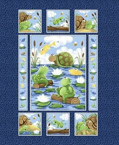 Supplies Fabric fabric sewing cotton quilting SUSYBEE KIDS NURSERY WIMSICAL PANEL PAUL SHELDON FROG TURTLE