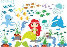 Mermaid Wall Sticker Ocean Wall Sticker Under by WallDecalSource