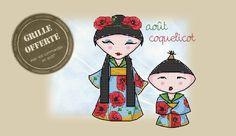 Grille du mois d'août : la kokeshi Coquelicot <3