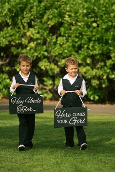 Ring bearer signs - Bliss Wedding Design & Spectacular Events + Anna Kim Photography
