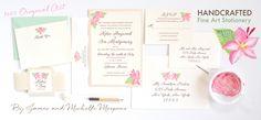 Hand-painted custom wedding invitations by artist Michelle Mospens. - www.mospensstudio.com
