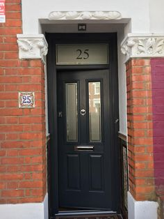 Ludlow Solidor with number etch in fan window, Official installer for Solidor Wright Glazing 02086444224 Black Composite Front Door, Composite Door, Solidor Door, Front Door Numbers, Front Door Lighting, Victorian Front Doors, Victorian Terrace House, Exterior Front Doors, House Front Door