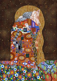 Two cuddling cats in a pastiche of Gustav Klimt's 'Fulfilment' from his…