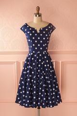 Lilli Navy - Navy blue polkadots retro swing dress