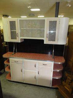 Amazing Vintage Retro Deco Kitchen Dresser Red Laminate   eBay