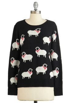 I Got Ewe, Babe Sweater - Black, White, Print with Animals, Casual, Quirky, Critters, Long Sleeve, Fall, Black, Long Sleeve, Mid-length, Winter