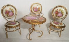 Vintage Limoges Gilded Miniature Table and Chairs