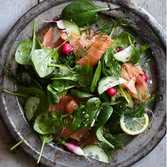 Spinach and Smoked Salmon Salad with Lemon-Dill Dressing | Food & Wine
