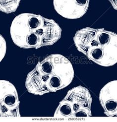 Vector seamless background. Skulls. Design for fabrics, textiles, paper, wallpaper, web. Retro. Vintage style. Black and white.