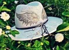 Handpainted hat angels wings!!!!By Sissy Marinou