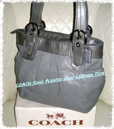 COACH Soho Gray Pleated Leather Tote Bag . Starting at $9