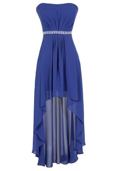 Crystal Clear Chiffon High Low Dress in Royal Blue www.lilyboutique.com